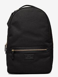 Leather-Trim Canvas Backpack - sacs à dos - black/black