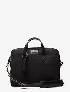 Leather-Trim Canvas Briefcase - tietokonelaukut - black/black