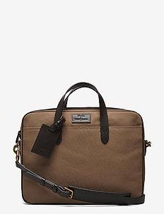 Leather-Trim Canvas Briefcase - briefcases - khaki/dark brown