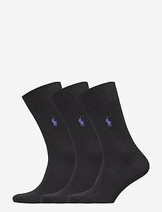 Cotton-Blend Sock 3-Pack - BLACK