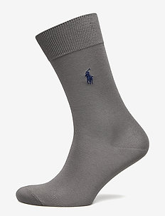 MERCERIZED COTTON-FLAT KNIT SOCKS S - PEWTER