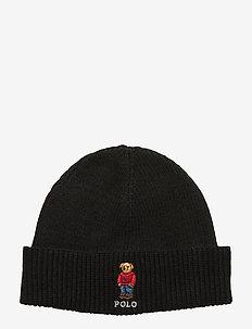 Polo Bear Rib-Knit Hat - luer - black