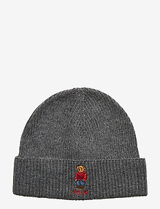 Polo Bear Rib-Knit Hat - mössor - grey