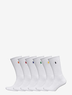 Cotton-Blend Crew Sock 6-Pack - WHITE COLORED PP