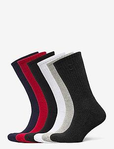 Cotton-Blend Crew Sock 6-Pack - regular socks - blk/red/nvy/char/
