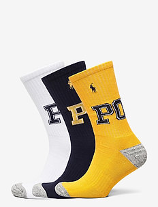 POLY/COTTN/SPANDEX-3 PACK POLO-CRW- - regular socks - gold bugle navy