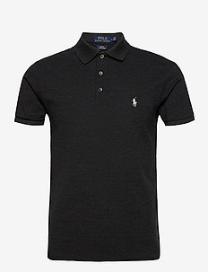 Slim Fit Stretch Mesh Polo - polos à manches courtes - black marl heathe