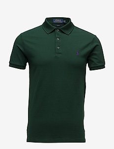 Slim Fit Stretch Mesh Polo - COLLEGE GREEN