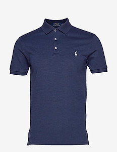 Slim Fit Stretch Mesh Polo - MONROE BLUE HEATH