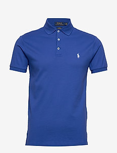 Slim Fit Stretch Mesh Polo - short-sleeved polos - travel blue/c1750