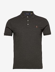 Slim Fit Interlock Polo Shirt - short-sleeved polos - dark charcoal hea