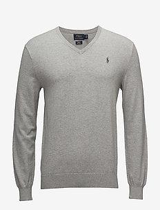 Slim Fit Cotton V-Neck Sweater - stickade basplagg - andover heather