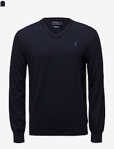 Slim Fit Cotton V-Neck Sweater - HUNTER NAVY
