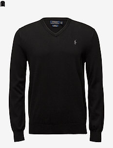 Slim Fit Cotton V-Neck Sweater - basic gebreide truien - polo black