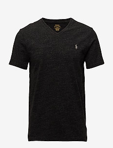 Custom Slim Fit V-Neck T-Shirt - BLACK MARL HEATHE