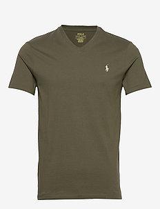 Custom Slim Fit V-Neck T-Shirt - korte mouwen - defender green/c8