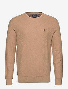 Cotton Crewneck Sweater - stickade basplagg - camel melange