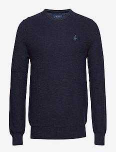 Cotton Crewneck Sweater - NAVY HEATHER