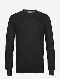 Cotton Crewneck Sweater - basic gebreide truien - polo black