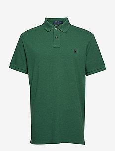 Custom Slim Fit Mesh Polo - GREEN HEATHER/C49