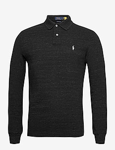Custom Slim Fit Mesh Polo - langermede - black marl heathe