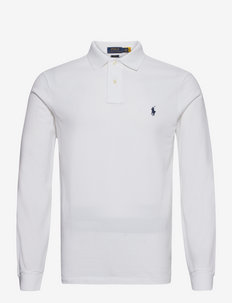 Slim Fit Mesh Long-Sleeve Polo - WHITE
