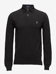 Slim Fit Mesh Long-Sleeve Polo - langermede - polo black