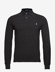Slim Fit Mesh Long-Sleeve Polo - BLACK MARL HEATHE