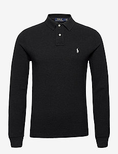 Slim Fit Mesh Long-Sleeve Polo - long-sleeved polos - black marl heathe