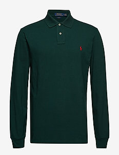 Slim Fit Mesh Long-Sleeve Polo - COLLEGE GREEN