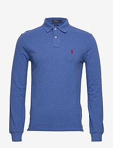 Slim Fit Mesh Long-Sleeve Polo - langermede - dockside blue hea