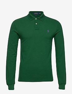 Slim Fit Mesh Long-Sleeve Polo - langermede - new forest/c4649