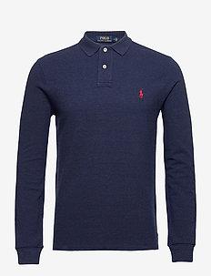 Slim Fit Mesh Long-Sleeve Polo - tops & t-shirts - spring navy heath