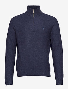 Tussah Silk Half-Zip Sweater - NAVY HEATHER