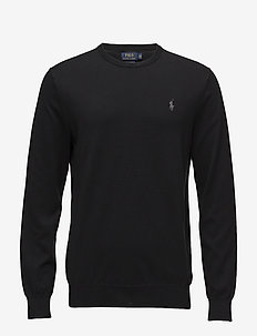 Slim Fit Cotton Sweater - basic-strickmode - polo black