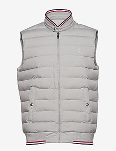 Down-Panel Double-Knit Vest - ANDOVER HEATHER