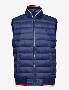Down-Panel Double-Knit Vest - FRENCH NAVY