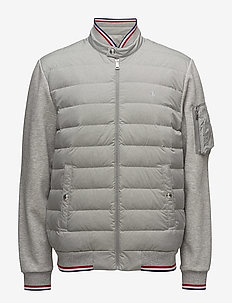 Down-Panel Double-Knit Jacket - ANDOVER HEATHER