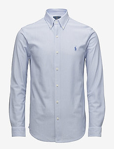 Striped Knit Oxford Shirt - oxford-paidat - dress shirt blue/