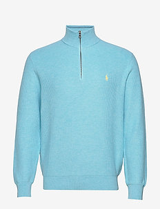 Cotton Half-Zip Sweater - half zip - beach aqua heathe