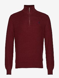 Cotton Half-Zip Sweater - CLASSIC WINE