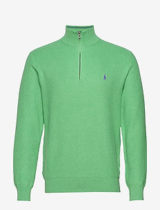 Cotton Half-Zip Sweater - LIME CRUSH HEATHE