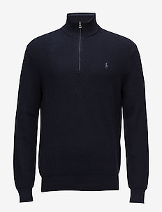 Cotton Half-Zip Sweater - half zip - navy heather