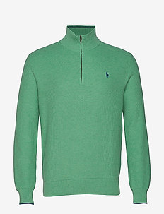 Cotton Half-Zip Sweater - PALE EMERALD HEAT