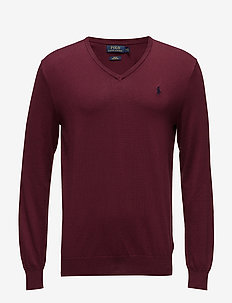 Slim Fit Cotton V-Neck Sweater - CLASSIC WINE