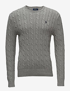 Cable-Knit Cotton Sweater - FAWN GREY HEATHER