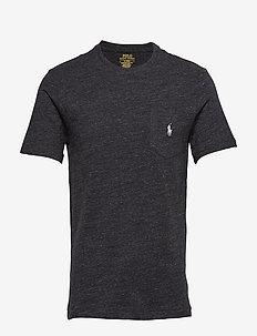 Custom Slim Fit Pocket T-Shirt - BLACK MARL HEATHE