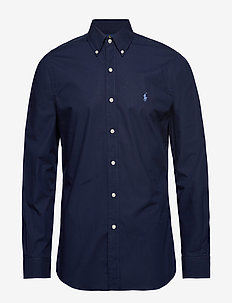 Slim Fit Stretch Cotton Shirt - businesskjorter - newport navy