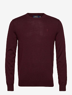 Slim Washable Merino Sweater - knitted round necks - rich ruby heather
