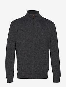 Merino Wool Full-Zip Sweater - DARK CHARCOAL HEA